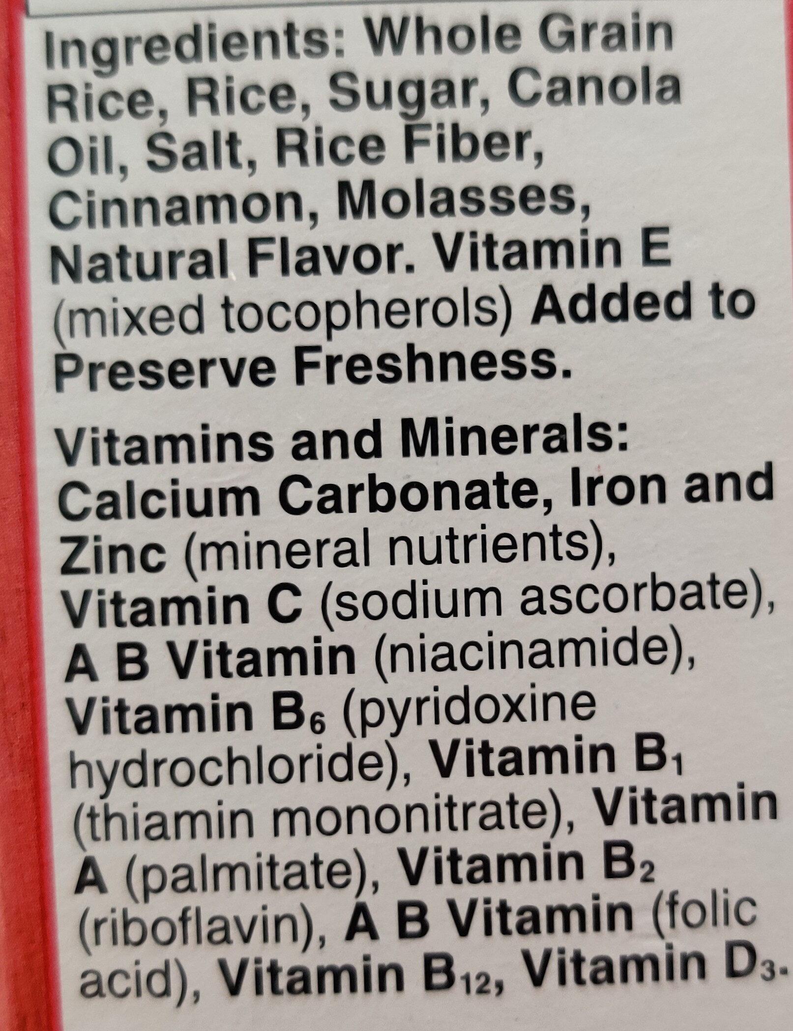 Chex Cinnamon gluten fre - Ingredients - en