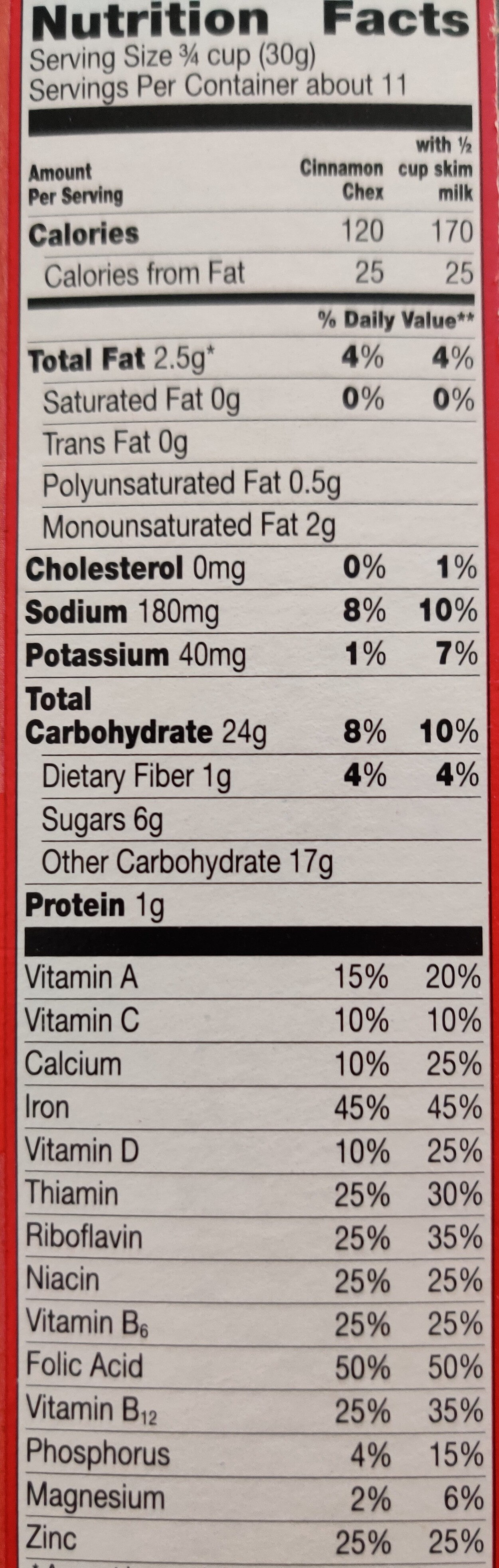 Cinnamon sweetened rice cereal - Nutrition facts