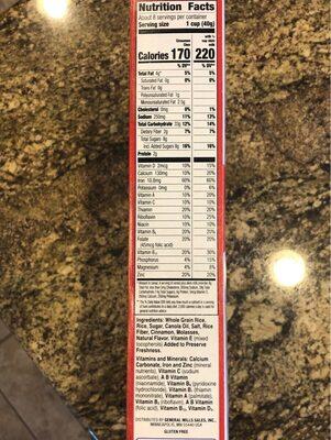 Chex Cinnamon gluten fre - Nutrition facts - en
