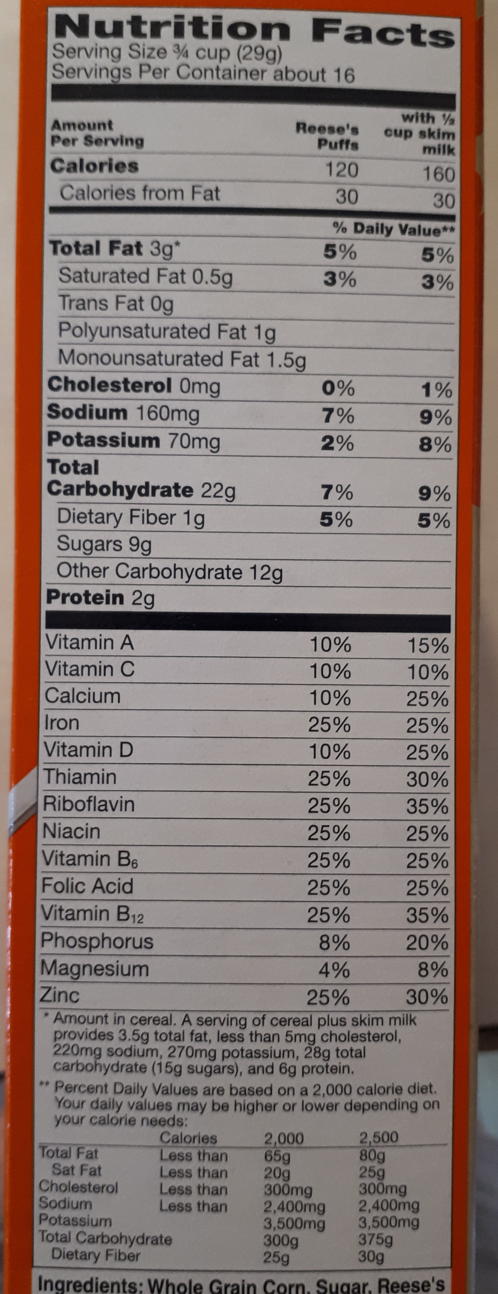 Reese's puffs - Nutrition facts