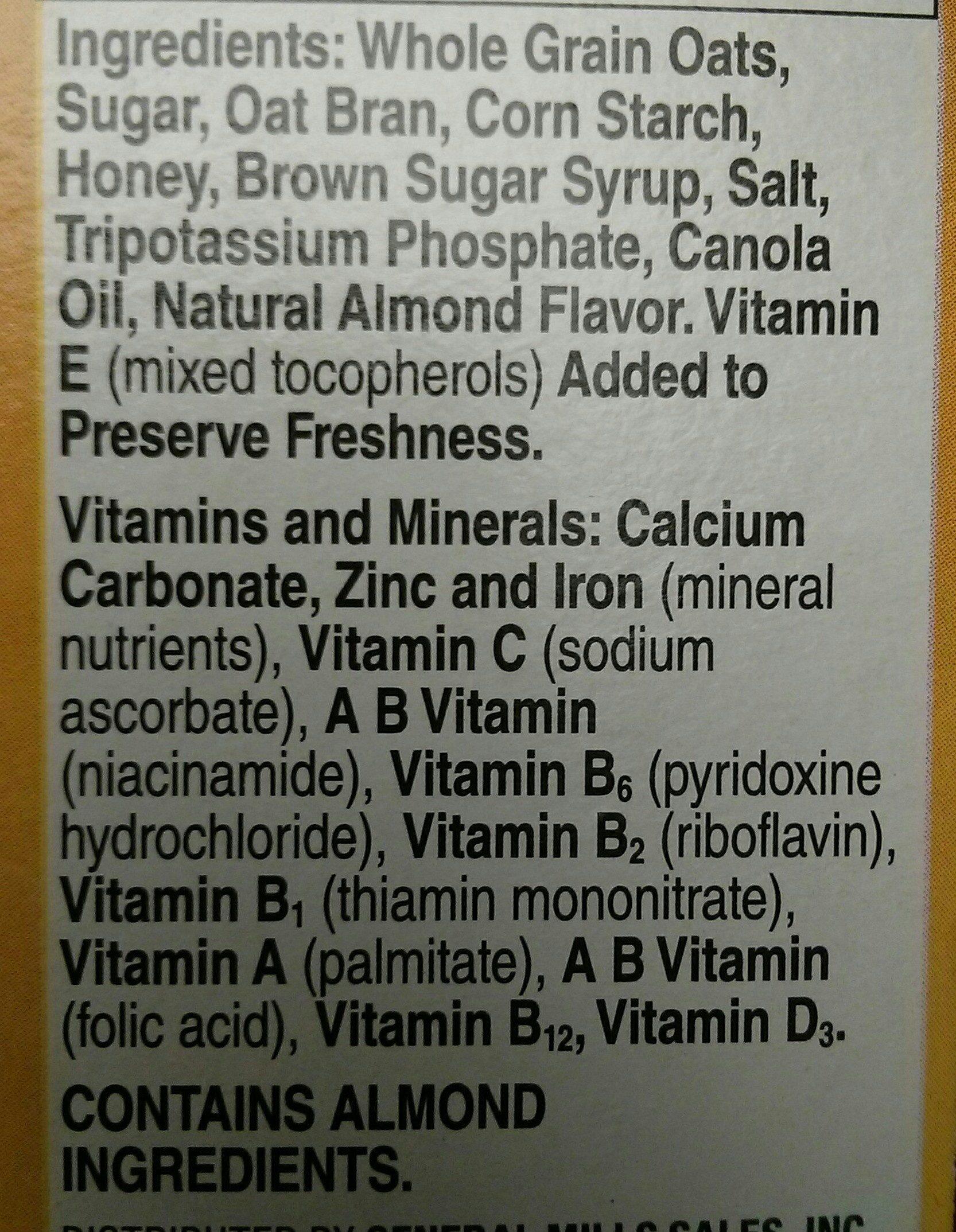 Honey nut whole grain oat cereal - Ingredients
