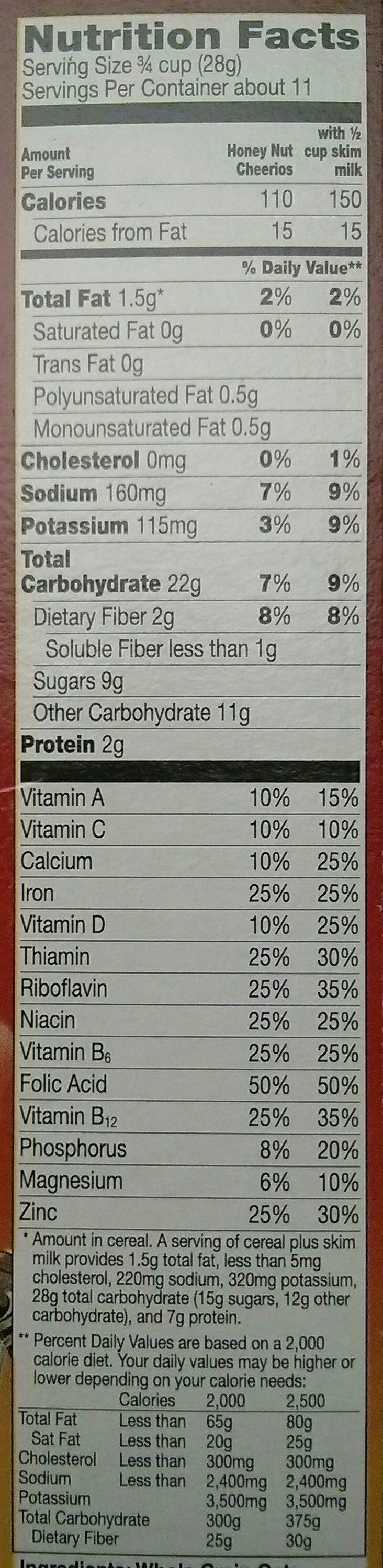 Honey nut whole grain oat cereal - Nutrition facts
