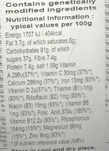 Lucky Charms with Marshmallows - Informació nutricional - en