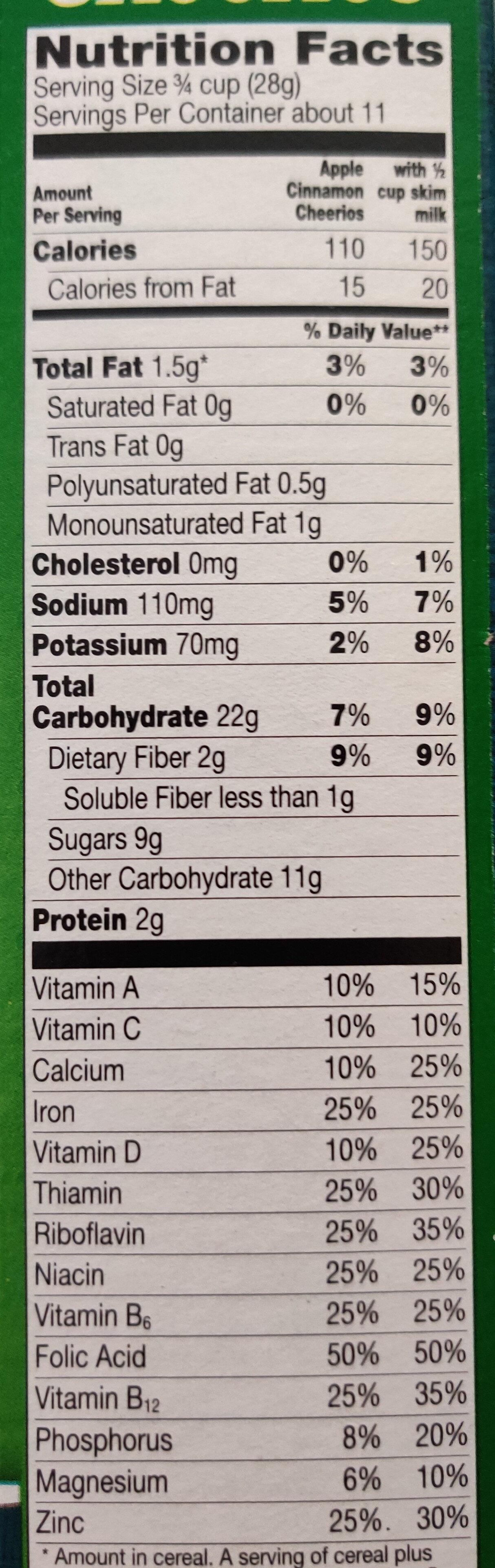 Apple Cinnamon Cheerios Cereal - Nutrition facts - en