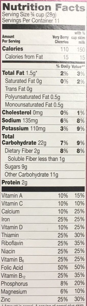 Sweetened whole grain oat cereal - Nutrition facts