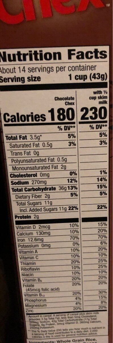 Chocolate Chex Cereal - Nutrition facts - en