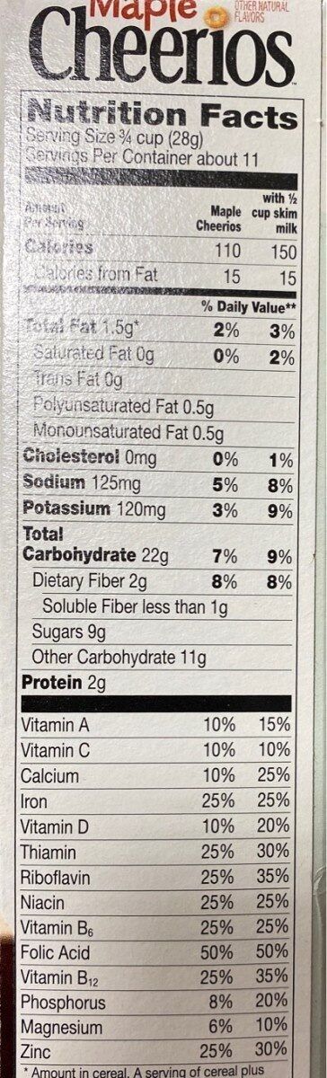 Maple cheerios maple sweetened whole grain - Nutrition facts - en