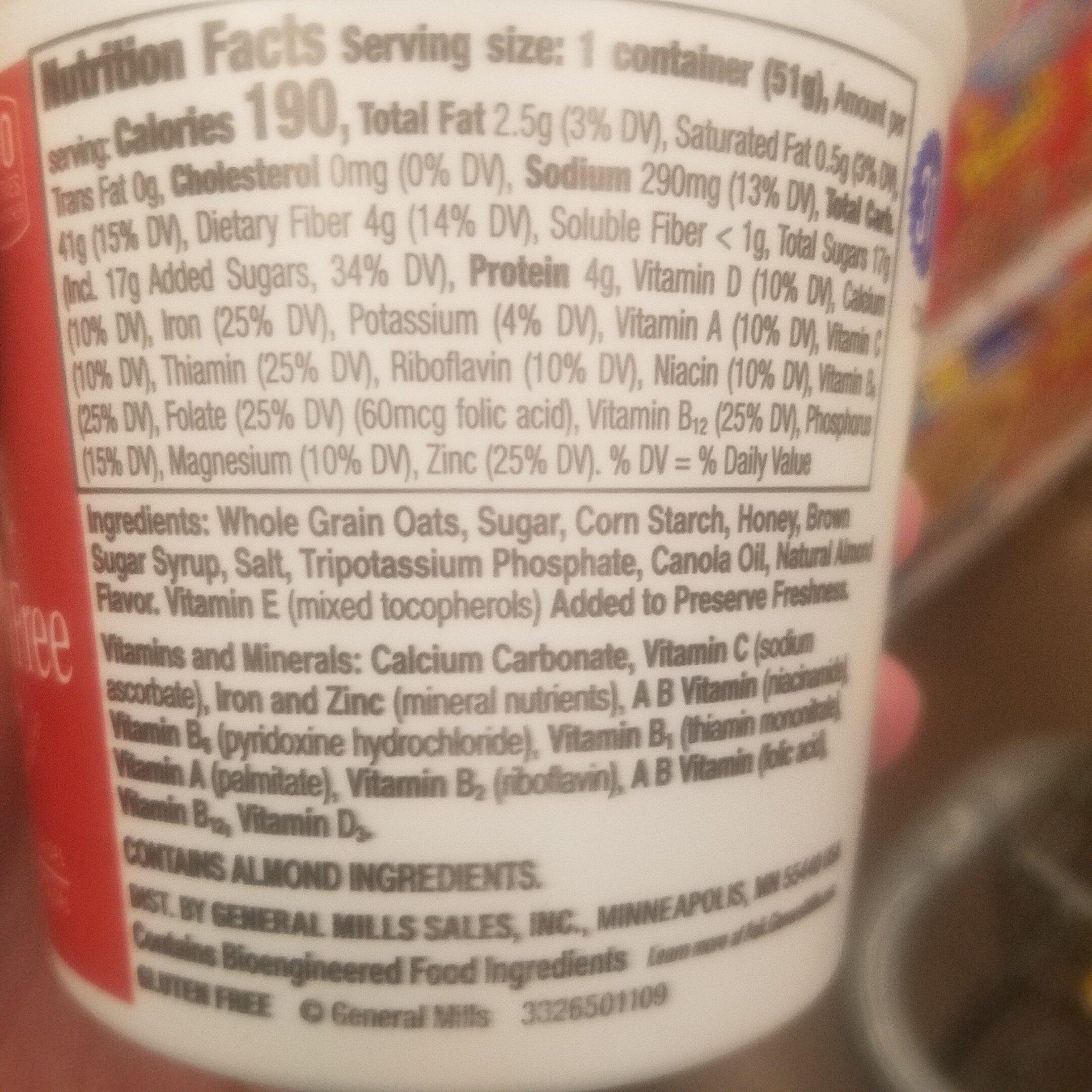 Honey nut cup breakfast cereal - Ingredienti - en