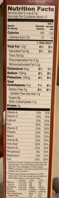 Chocolate flavored whole grain oat cereal - Nutrition facts - en