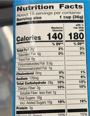 Blueberry sweetened whole grain oat cereal - Valori nutrizionali - en