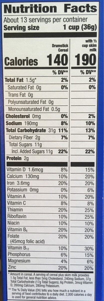 Classic vanilla sweetened corn and wheat cereal, classic vanilla - Nutrition facts - en