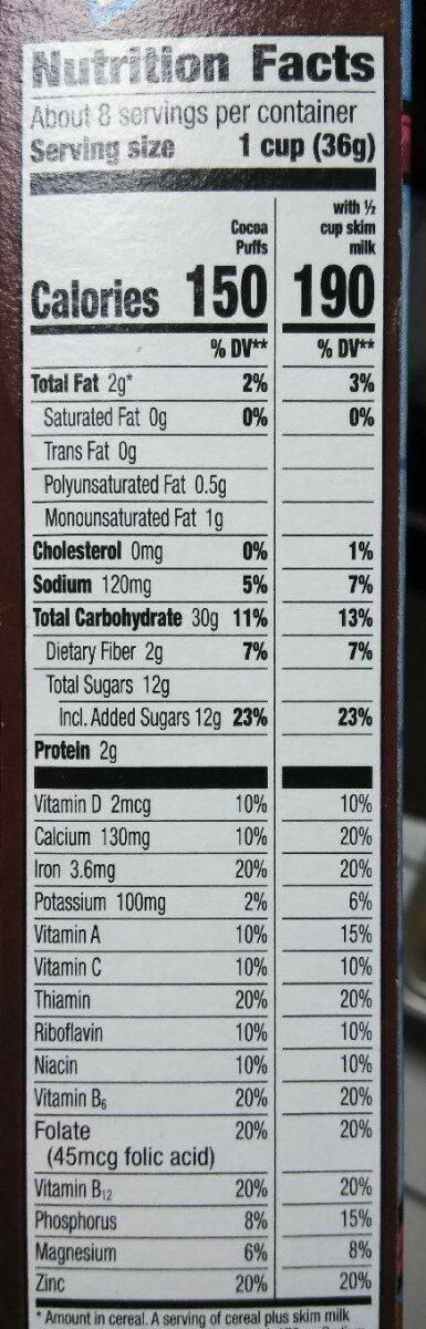 Cocoa puffs chocolatey milk frosted corn puffs - Nutrition facts - en