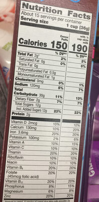 Cocoa puffs - Nutrition facts - en