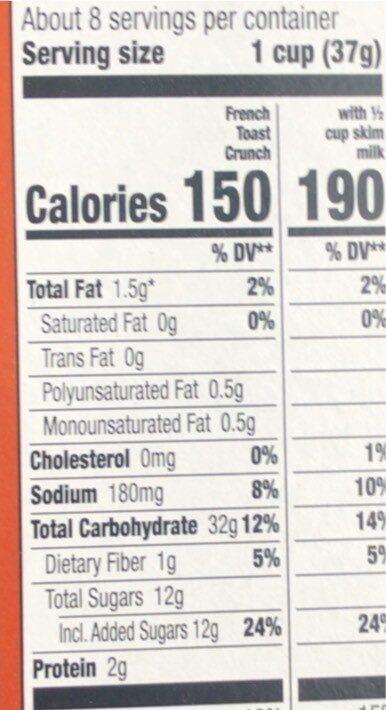 Crunch syrup & cinnamon - Nutrition facts - en