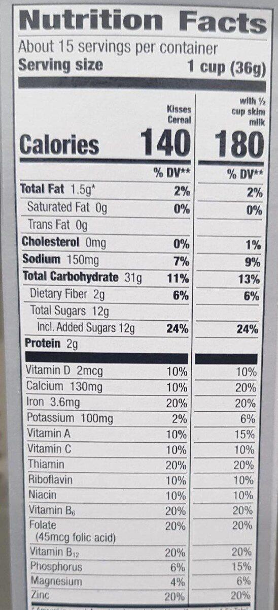 Hershey's kisses breakfast cereal - Valori nutrizionali - en