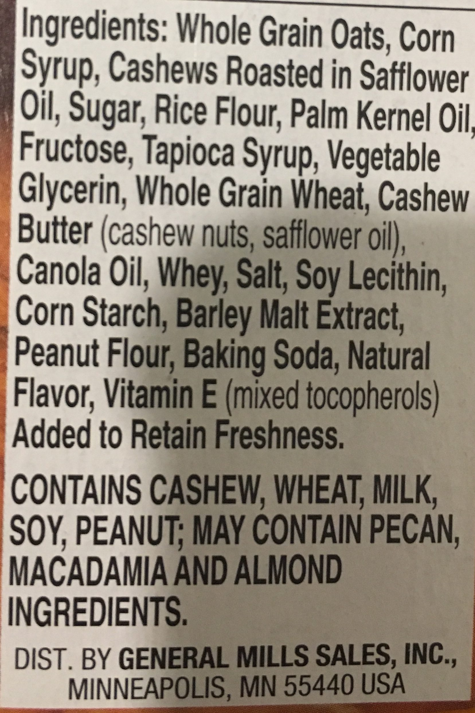 Nature Valley Sweet & Salty Nut Cashew Granola Bars - Ingrediënten