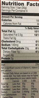 Nature Valley Sweet & Salty Nut Cashew Granola Bars - Voedingswaarden