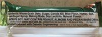 Crunchy Granola Bars Oats 'n Honey - Ingrédients