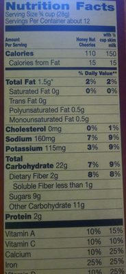 Honey Nut Cheerios - Nutrition facts