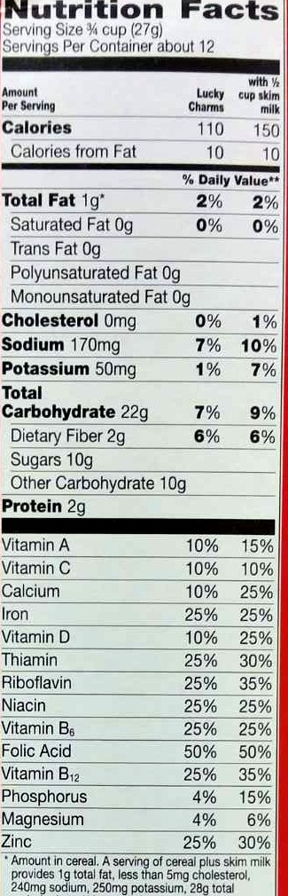 Lucky Charms - Nutrition facts