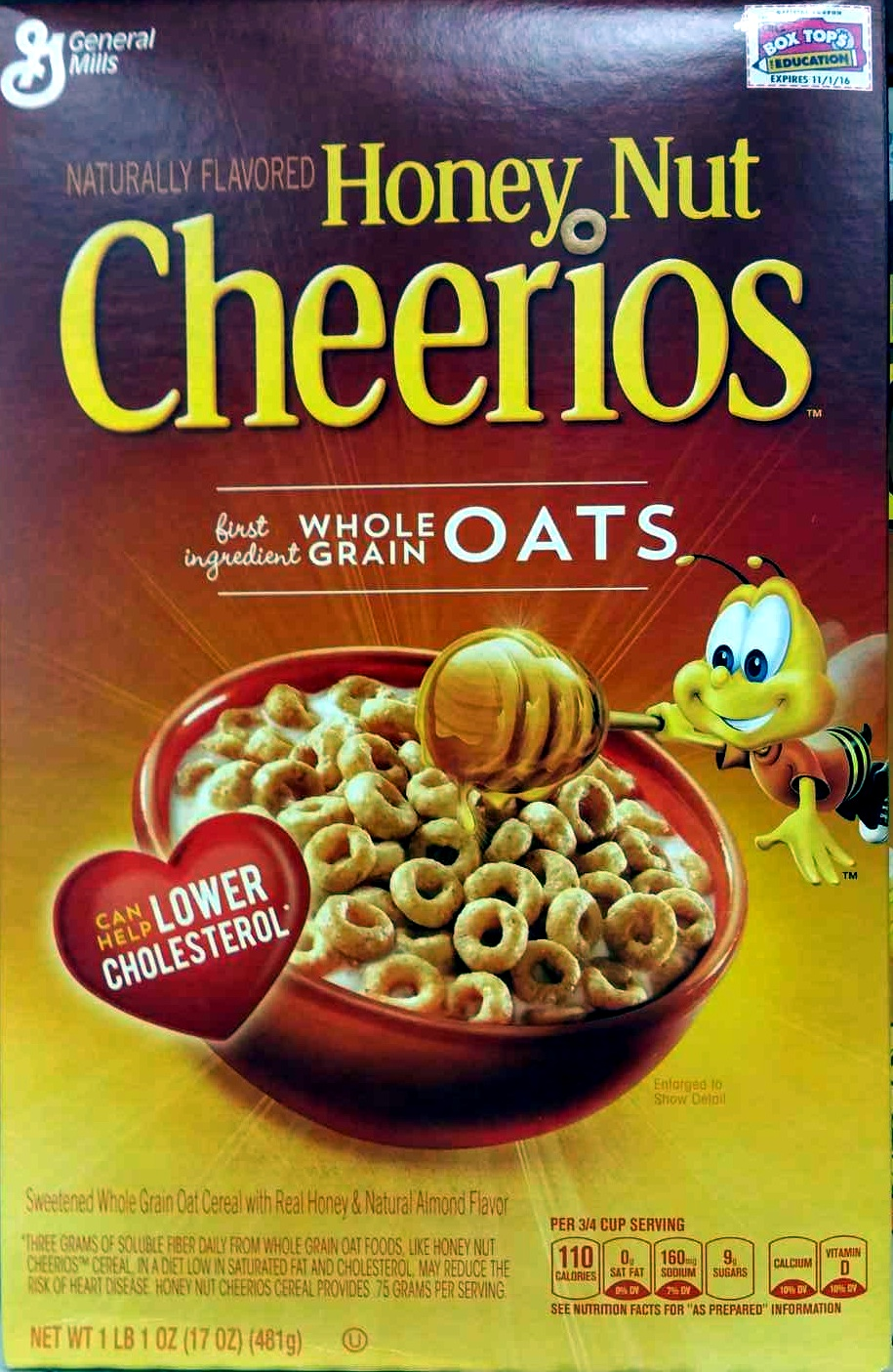 honey nut cheerios - general mills - 1 lb (481 g)