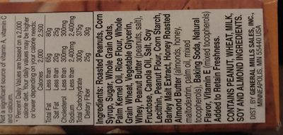 Nature Valley Peanut Sweet and Salty granola bars - Ingredients