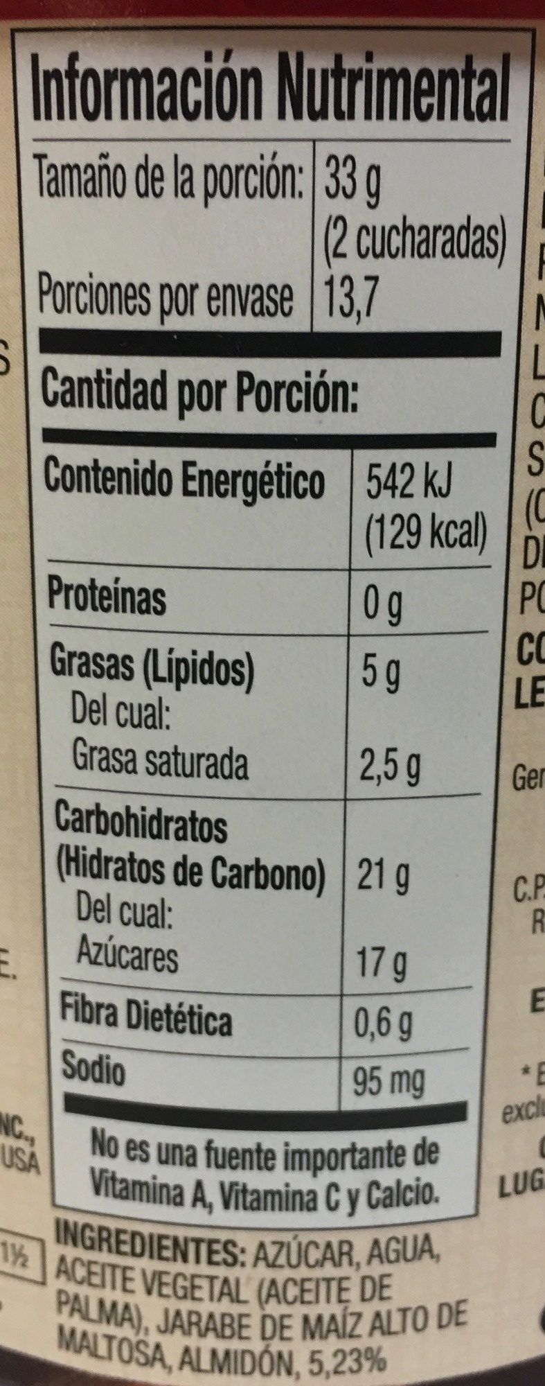 Betún sabor a chocolate - Informations nutritionnelles