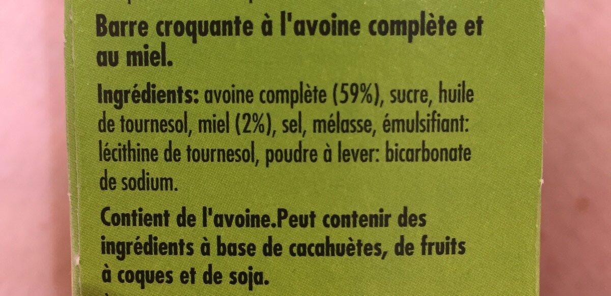 N / V Oats & Honey Bar - Ingredients - fr