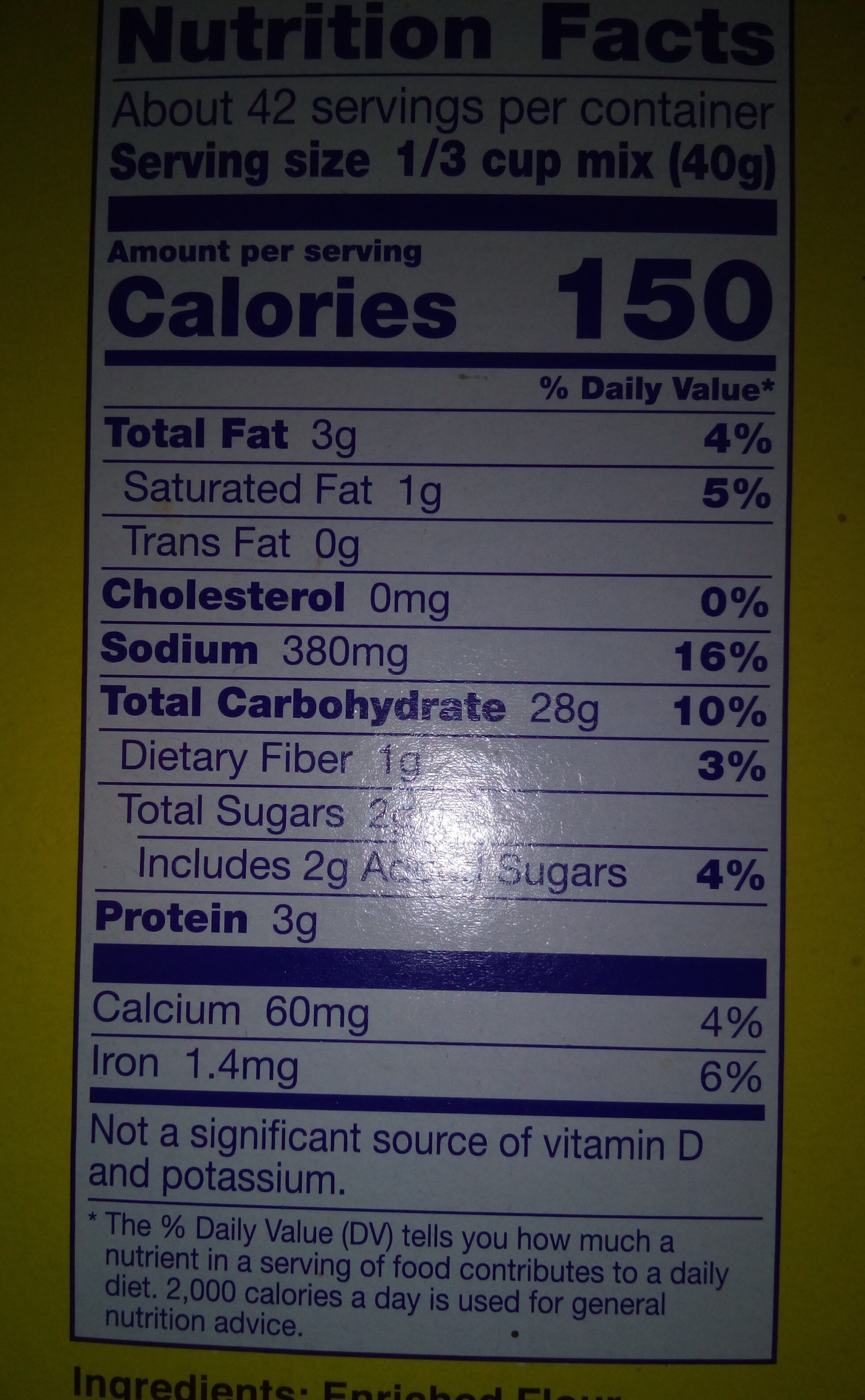 Bisquick Pancake Mix - Nutrition facts