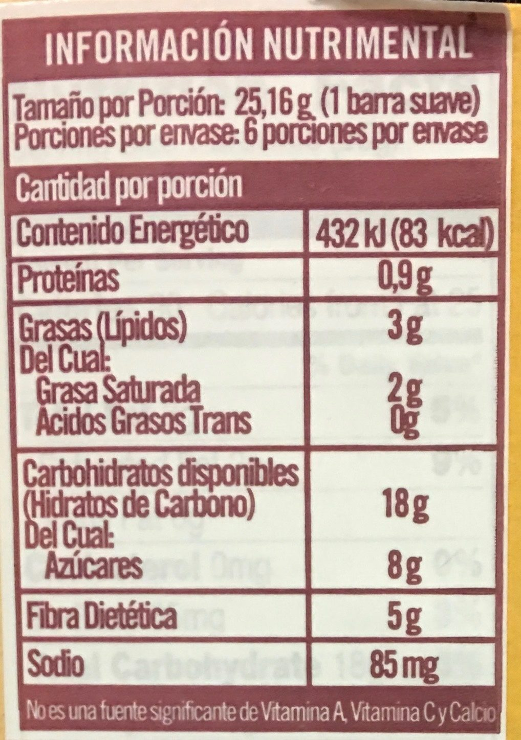 Fiber One 90 Calorie Chocolate Fudge Brownies - 6 CT - Información nutricional - es