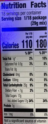 Milk chocolate brownie mix - Nutrition facts