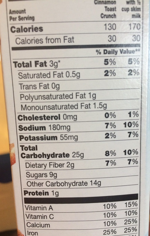 Cinnamon Toast Crunch - Información nutricional