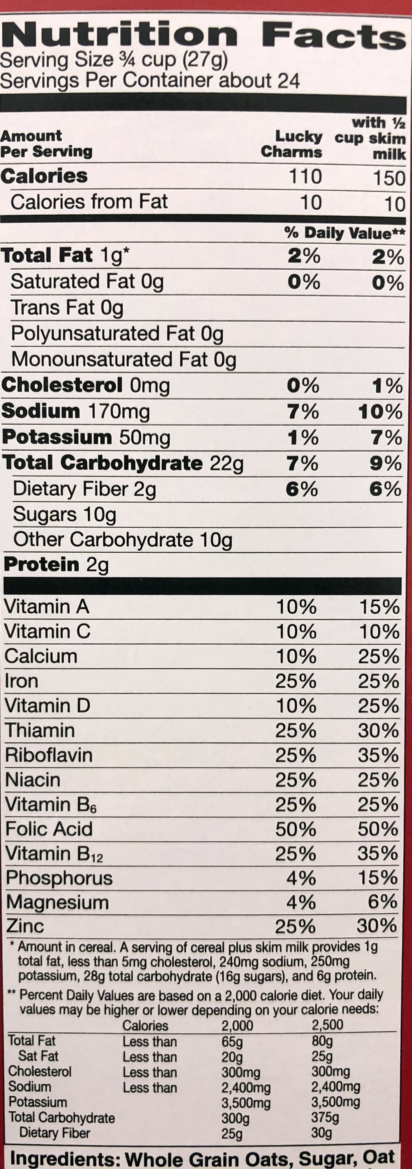 Lucky Charms - Nutrition facts - en