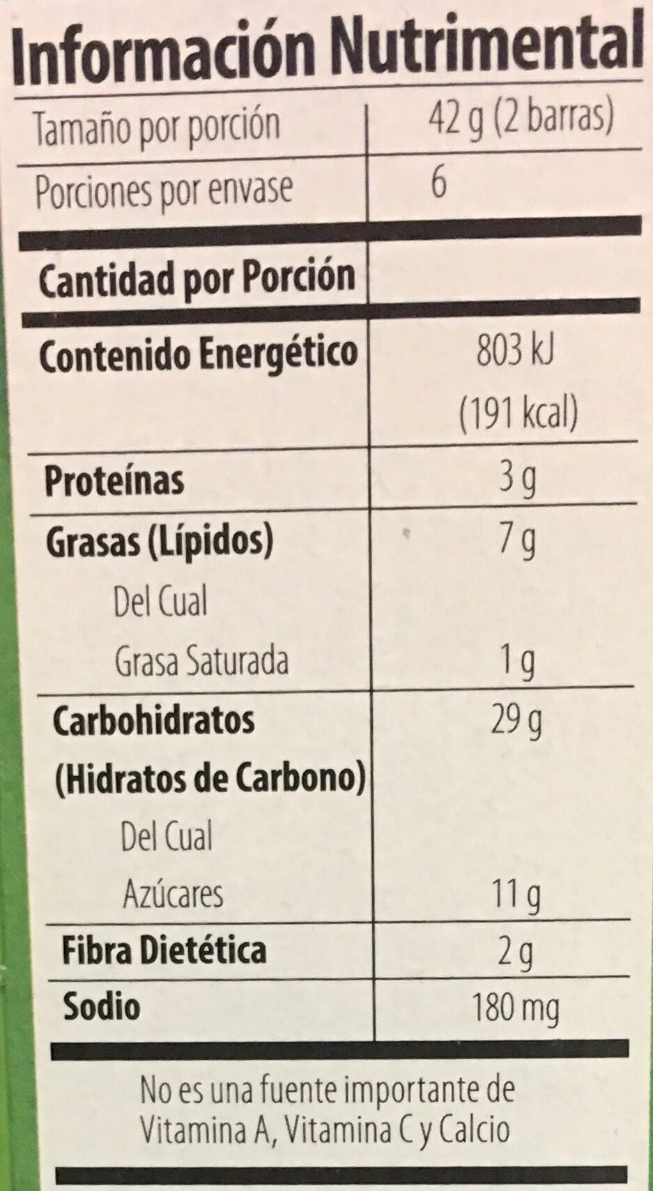 Barras de granola con avena y miel - Voedingswaarden - es