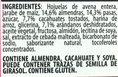 Trail Mix barras de granola suave - Ingrediënten - es