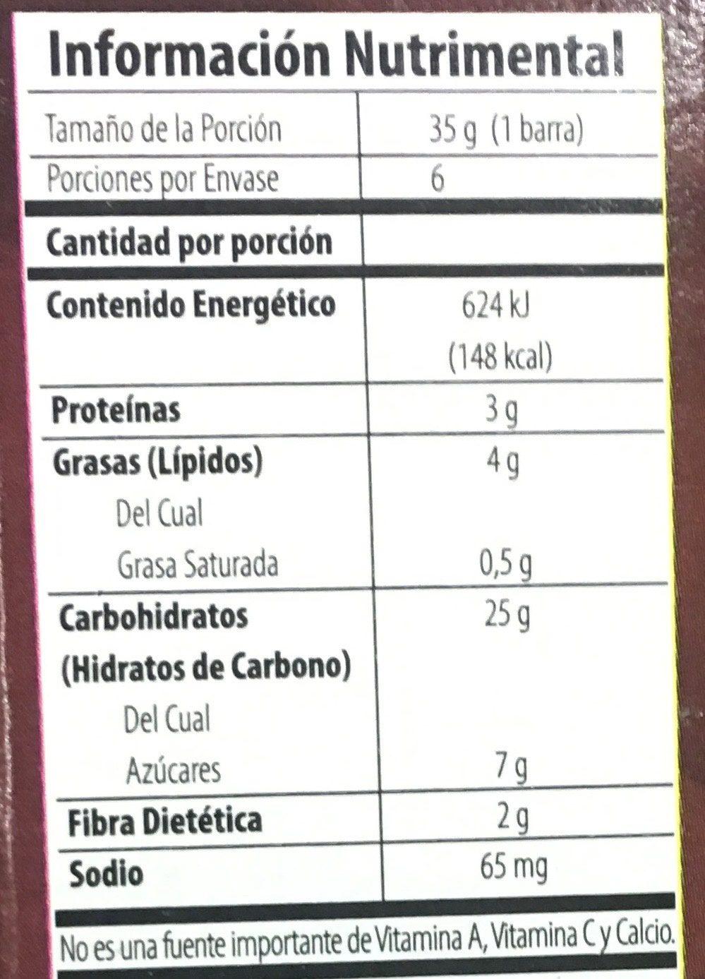 Trail Mix barras de granola suave - Voedingswaarden - es