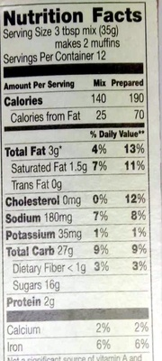 Chocolate Chip Muffin & Quick Bread Mix - Nutrition facts