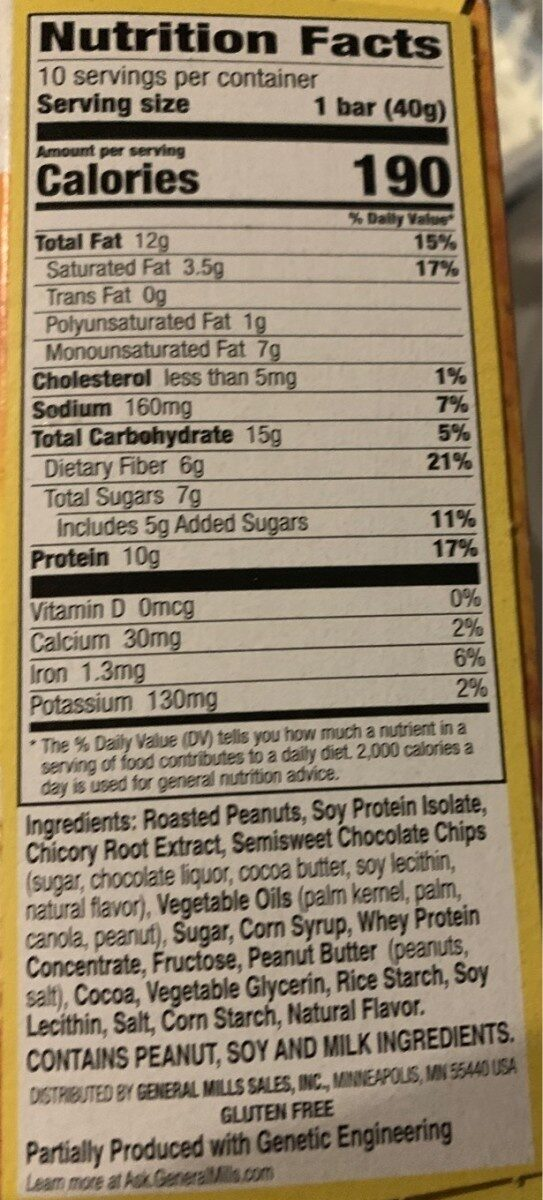 Protein peanut butter dark chocolate chewy bars - Nutrition facts - en