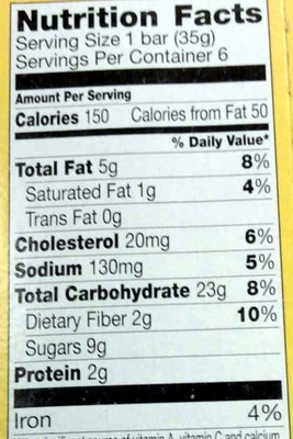 Soft Baked Oatmeal Squares Cinnamon Brown Sugar - Nutrition facts