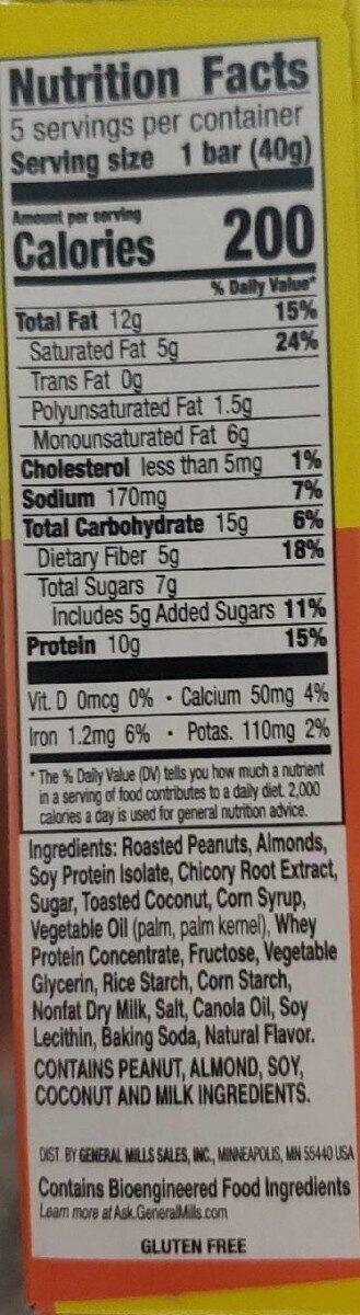 Chewy granola bar - Información nutricional - en