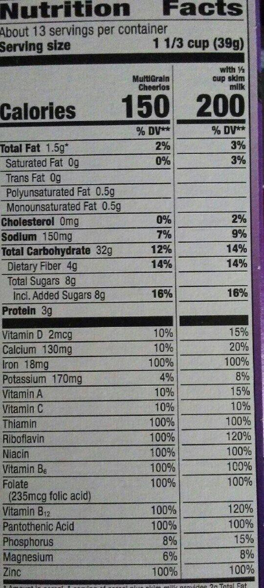 Multi grain cereal - Nutrition facts - en