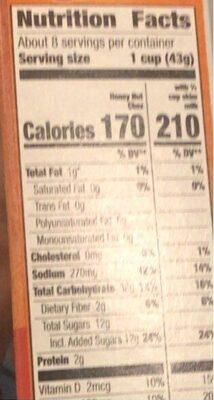 Chex cereal honey nut gluten free - Nutrition facts - en