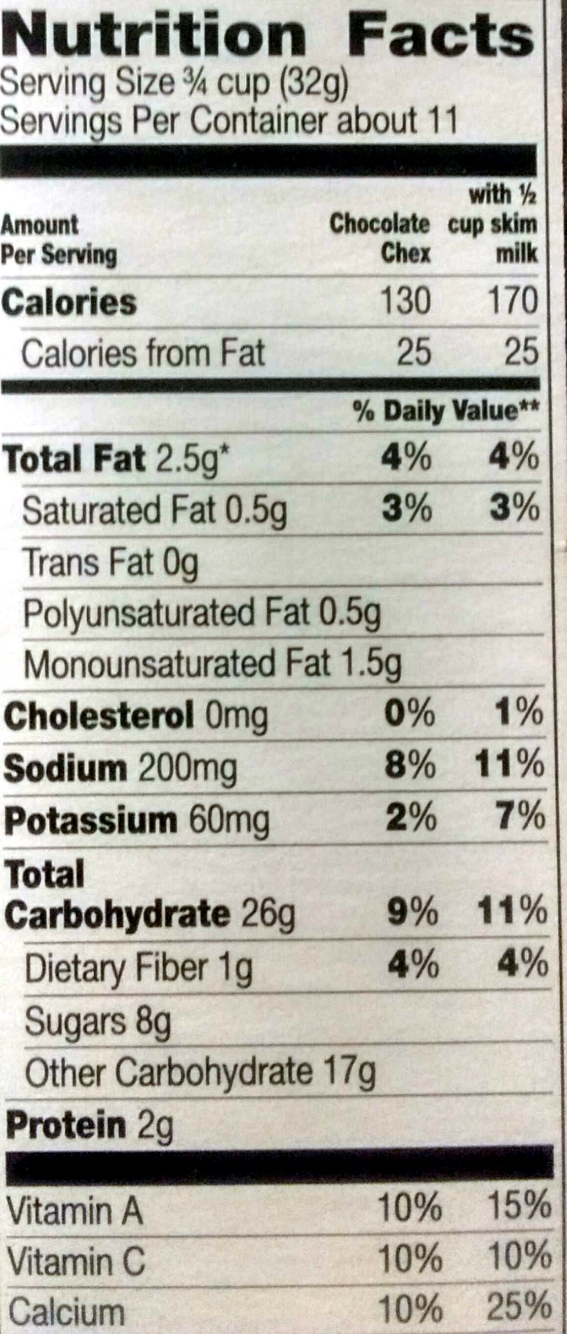 Chocolate Chex - Nutrition facts