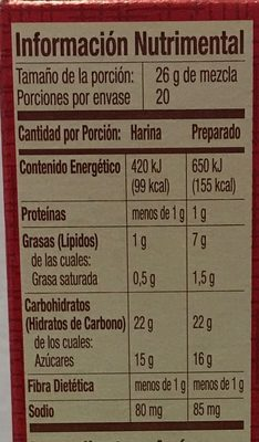 Harina para preparar brownie saboe a chocolate - Nutrition facts