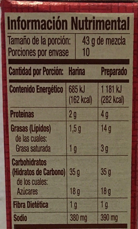 Harina para preparar pastel sabor a jarabe de chocolate - Nutrition facts