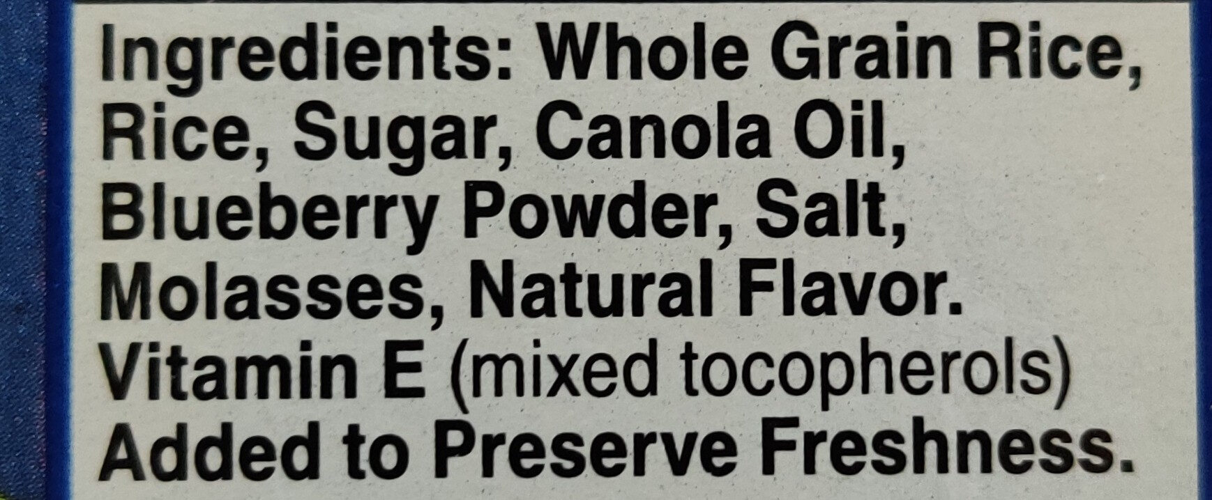 Blueberry Chex - Ingredients