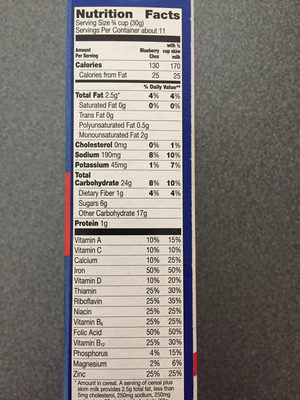 Blueberry Chex - Nutrition facts