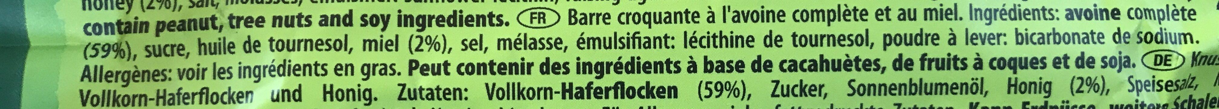 Crunchy Oats & Honey Cereal Bar - Ingrédients - fr