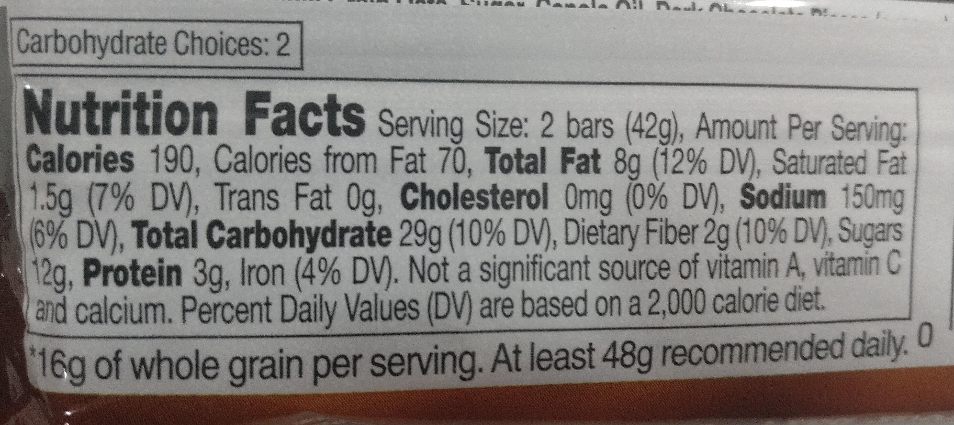 Nature Valley Crunchy Oats 'n Dark Chocolate Granola Bar - Informations nutritionnelles - fr