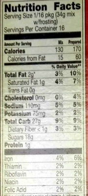 Supreme Frosted Brownie Mix - Nutrition facts